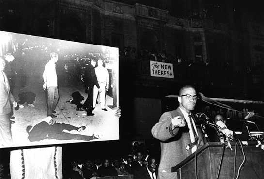 Born Malcolm Little, civil rights leader Malcolm X (19251965) advocated violence as a means for change. He later amended his position to include peaceful relationships with other races.  UPI/Corbis-Bettmann.