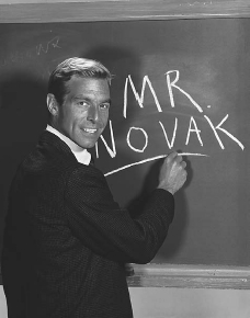 A publicity shot for the TV show Mr. Novak, a 1960s drama set in a school. Betty Friedan questioned why programs like Mr. Novak did not feature stronger, female characters.  BETTMANNCORBIS. REPRODUCED BY PERMISSION.