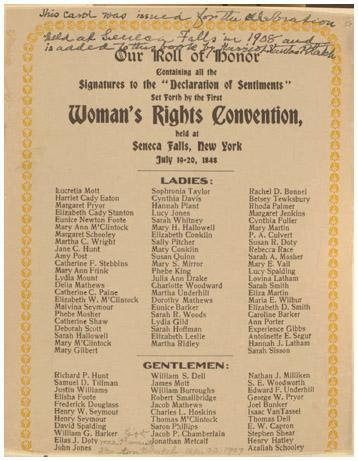 Elizabeth Cady Stanton, Lucretia Mott, Martha C. Wright, Jane Hunt, and Mary Ann McClintock convened the first Woman's Rights Convention July 18–20, 1848, in Seneca Falls, NY. The Declaration of Sentiments presented at the convention ou
