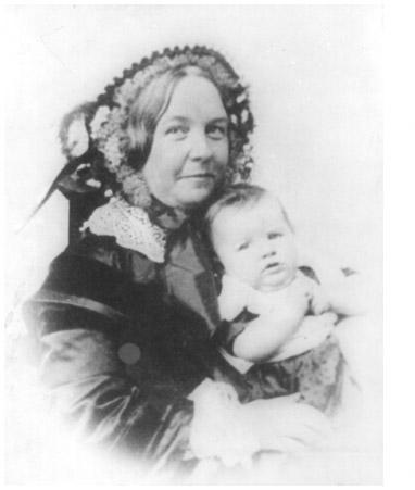 Elizabeth Cady Stanton, photographed with her daughter, Harriot, in 1856. An important figure in the American women's rights movement, Elizabeth Cady Stanton was the primary author of the Declaration of Sentiments presented at the Seneca Falls
