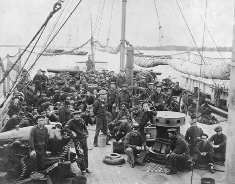 A photograph by the famous Civil War photographer Mathew Brady depicting the crew of a Union Navy vessel.