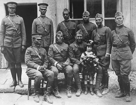 Officers of the Buffalos, the 367th Infantry, 77th Division in France in 1918.