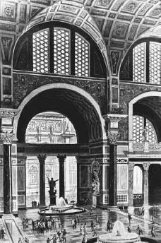 Imaginative drawing of the interior of the Thermae (Baths) of Caracalla, the most splendid of the imperial baths at Rome, built 212–217 C.E. with huge, vaulted rooms and an intricate heating system. © UPI/CORBIS-BETTMANN. REPRODUCED BY PERMISSION.