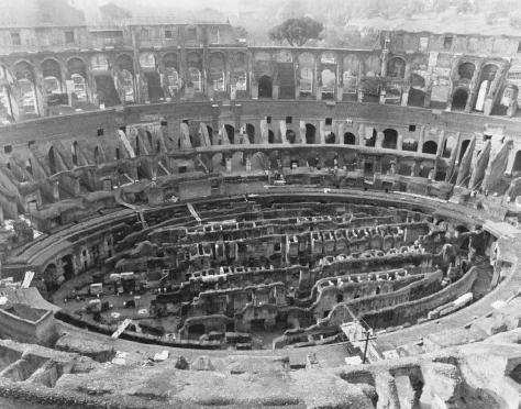 Aerial view of the interior of the Flavian Amphitheater in Rome, popularly known as the Colosseum, inaugurated in 80 C.E. with a festival lasting 100 days. AP/WIDE WORLD PHOTOS. REPRODUCED BY PERMISSION.