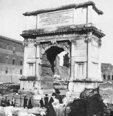 Arch of Titus in the Roman Forum, erected in 81 C.E. to commemorate the victory of the emperors Vespasian and Titus in the Judaen War (70 C.E.). FRANCIS G. MAYOR/CORBIS.