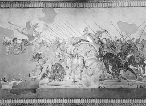 Mosaic from the House of the Faun in Pompeii, showing the Battle of Issus between Alexander the Great and Darius III of Persia. Copied from a Hellenistic painting by an unknown artist probably of the third century B.C.E. THE ART ARCHIVE/ARCHAEOLOGICAL MUSEUM NAPLES/DAGLI ORTI.