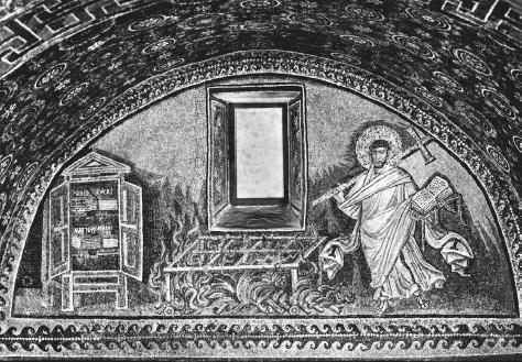Mosaic from the Tomb of Galla Placidia, Ravenna, Italy, dating to about 425 C.E., showing the martyrdom of St. Lawrence who was roasted on a gridiron. MAUSOLEUM OF GALLA PLACIDIA AT RAVENNA, ITALY.