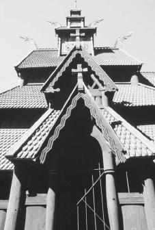 Woodwork and roofs of Stavechurch, Borgund, Norway, 1150. ELIO CIOL/CORBIS.