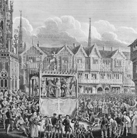 An engraving of a pageant wagon on which theatrical performances were staged in the Renaissance. FOLGER SHAKESPEAREAN LIBRARY. REPRODUCED BY PERMISSION.