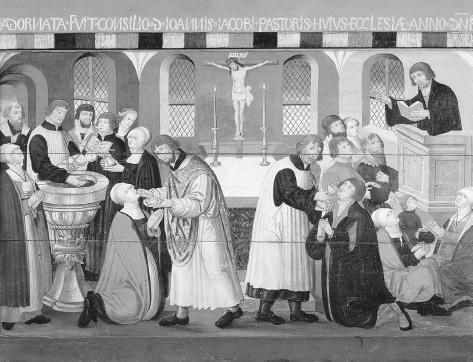 Danish seventeenth-century altarpiece celebrating the career of the German reformer Martin Luther. THE ART ARCHIVE/NATIONALMUSEET COPENHAGEN DENMARK/DAGLI ORTI.