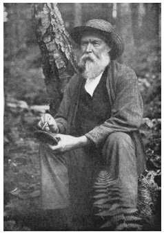 Rowland E. Robinson. Robinson is pictured here engaged in one of his favorite pastimes, etching a picture on a shelf lichen. COURTESY OF RONALD L. BAKER