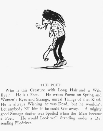 The Poet. From Eugene Fields series of satirical vignettes published in the Denver Tribune. THE COLLECTION OF CHRISTOPH IRMSCHER, BALTIMORE