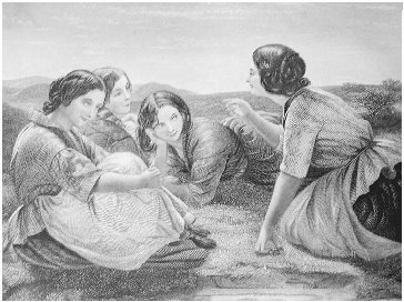 Illustration from Godeys Ladys Book, October 1862. The title of this picture is Plotting Mischief; the attitudes of the group suggest rapt attention to a storyteller. GRADUATE LIBRARY, UNIVERSITY OF MICHHIGAN