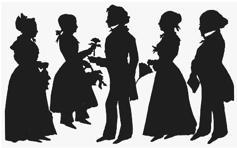 Silhouette of the Dickinson family visiting Emily (second from right) at Mount Holyoke Female Seminary, 1848. Dickinson attended the seminary for one year but was unable to profess the Christian sentiments taught there. THE GRANGER COLLECTION,