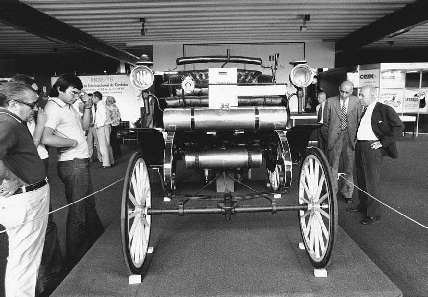 Photo of the original 1891 gasoline-engined Daimler automobile. In 1885, Karl Benz and Gottlieb Daimler developed an internal combustion engine, building the first motorcycle and cars using gasoline.