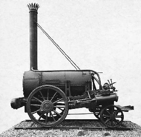 Side view of George Stephensons Rocket locomotive. The train was designed and built in 1829 and is considered the forerunner of all other steam locomotives.
