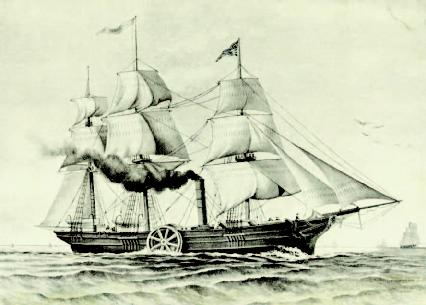 Illustration of the Savannah, the first steamship to cross the Atlantic Ocean.