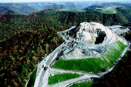 Aerial view of mountaintop removal and reclamation in the Indian Creek vicinity of Boone County, West Virginia