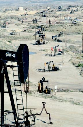 Oil wells at Midway-Sunset Oil Field in California.