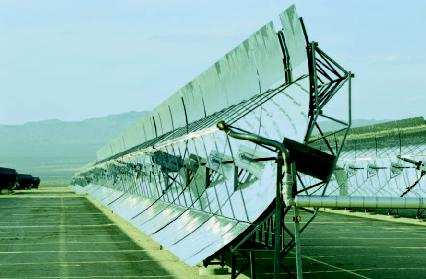 Parabolic trough mirrors at a solar power plant.