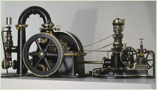 The Pelton wheel was often used to produce electricity in hydroelectric power stations. This model shows a Pelton wheel connected to a generator.