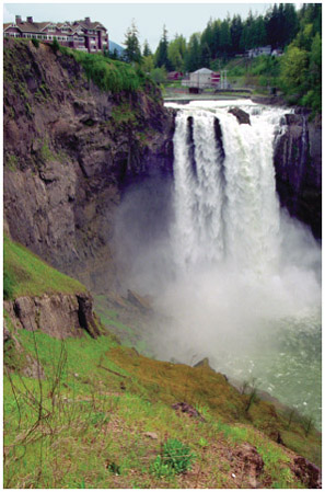 Above Snoqualmie Falls in Washington state, water energy is harnessed via a hydroelectric power plant. Waterfalls are a prime example of the science of kinetic energy.