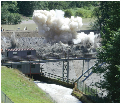 Some smaller hydroelectric dams in the Pacific Northwest have been decommissioned in recent years. Among them is the Marmot Dam along the Sandy River in Oregon. Explosives were used to blast the 47-foot (14-meter) walls of the dam in 2007 in an