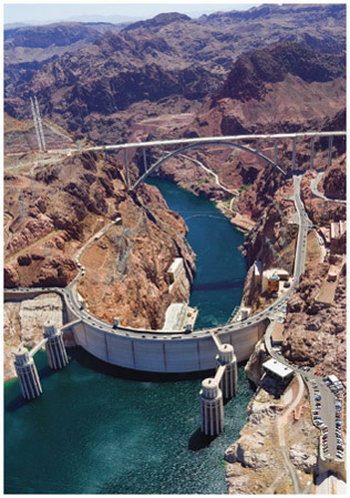 Aerial view of Hoover Dam, which was built in the 1930s to harness the mighty Colorado River. It created the reservoir of Lake Mead.