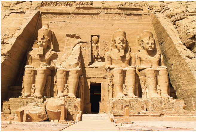 When the Aswan High Dam was built in Egypt, the ancient temple of Abu Simbel was carefully moved to higher ground so it would not be lost when the area was flooded.