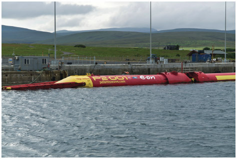 The Pelamis Wave Energy Converter is shown at Lyness Pier in Scotland in 2011.