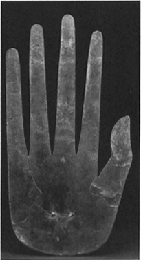 A hand-shaped cutout made of sheet mica, Ohio Hopewell culture, Middle Woodland period, 200 B.C.400 A.D. (Ohio Historical Society, Columbus)