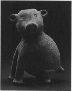 A ceramic bear-effigy bottle, Mississippian period, 12001500 A.D. (University of Arkansas Museum, Fayetteville)
