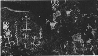Petroglyphs at the Village of the Great Kivas in New Mexico; Anasazi, circa 1100 A.D.
