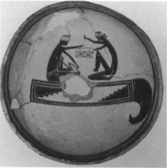 A pottery bowl of the Mogollon culture, circa 9001100 A.D., deliberately broken in the center (killed) before it was placed in the grave of its owner (Arizona State Museum, University of Arizona, Tucson, Arizona)