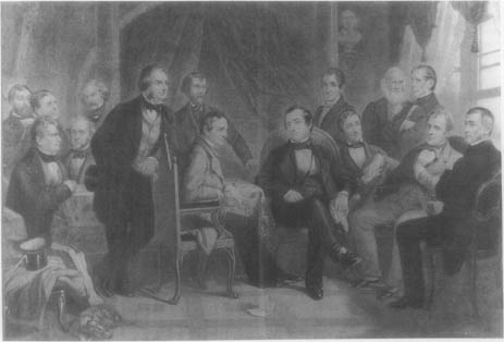 American men of letters of the early nineteenth century: (standing) Henry Theodore Tuckerman, Oliver Wendell Holmes, Nathaniel Hawthorne, Henry Wadsworth Longfellow, Nathaniel Parker Willis, James Kirke Paulding, William Cullen Bryant, and John