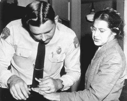 When she refused to give up her seat on a Montgomery, Alabama, bus to a white passenger, Rosa Parks was arrested and fingerprinted. Her arrest sparked a bus boycott, which gave fuel to the civil rights movement.