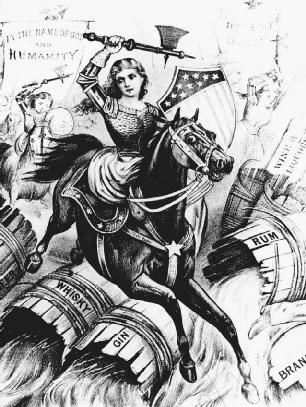 In a lithograph from 1874 by Currier and Ives, temperance women are shown wielding axes and smashing barrels of liquor. A banner notes In the Name of God and Humanity.