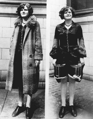 People Found various ways to conceal alcohol during Prohibition. Here, a woman reveals two small barrels of booze hidden under her skirt and coat.