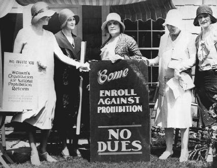 Although some women had fought long and hard for passage of the Eighteenth Amendment, which outlawed alcohol, others worked to get Prohibition repealed. Above, a group of women in the 1920s is shown inviting people to join them in their anti-Pr