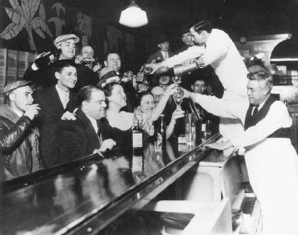 People in bars and other establishments across the country filled their glasses in anticipation of the end of Prohibition on December 5, 1933.