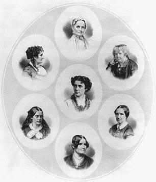 Among those who campaigned for womens rights were (clockwise from top): Lucretia Coffin Mott, Elizabeth Cady Stanton, Mary Livermore, Lydia Maria Child, Susan B. Anthony, and Grace Greenwood; Anna Dickinson is in the middle.