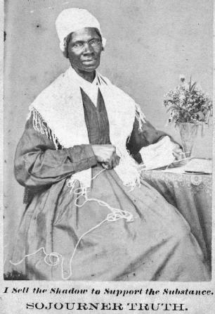 Sojourner Truth made speaking appearances in various cities. She sometimes sold pictures of herself in order to raise money for her work and living expenses. As she notes on this image from the mid-1860s, I sell the Shadow (picture) to Support