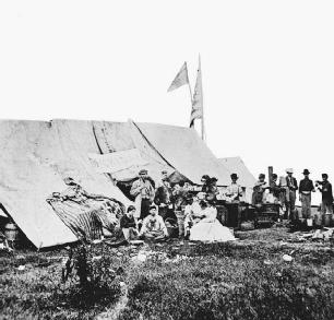 During the American Civil War, women joined relief societies for the aid and comfort of soldiers. They sent packages, made visits to the camps, assisted soldiers in writing letters home, and helped wounded and invalid soldiers. Many set aside w
