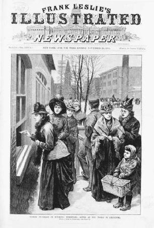 Women are shown lining up at the polls in Wyoming, one of the first states to allow womens suffrage in the nation. In order to draw women to the state, Wyoming officials made sure to guarantee womens suffrage in the state constitution.