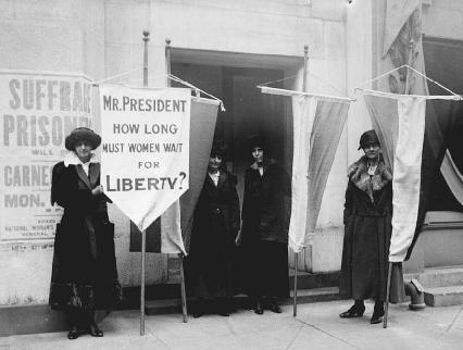 As the fight for womens suffrage intensified in 1919, women picketed at various locations, including the Metropolitan Opera House in New York City. The protesters here include (l-r) Ella Thompson, Alex Shields, Alice Paul, and Wilma Kearns.