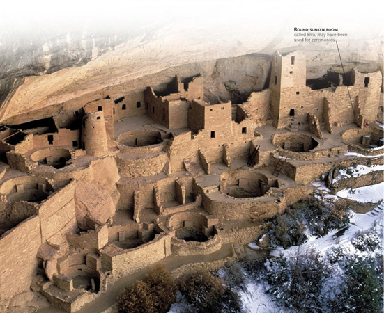 CLIFF HOUSES - In about 1200 CE, the Anasazi left their villages at the foot of Chaco Canyon and moved to settlements high up on cliff faces.