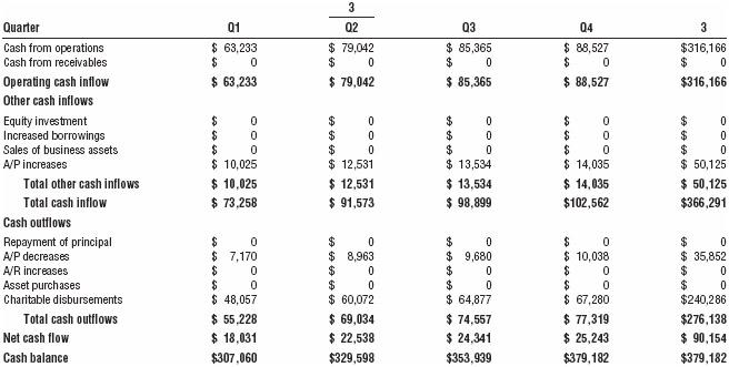 Cash flow analysis (third year)