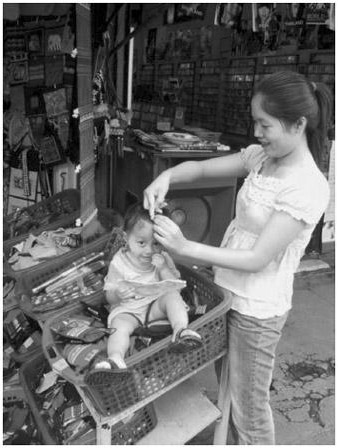 Figure 2. Mother and toddler in market in Thailand.
