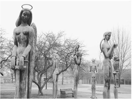 These statues, Saints and Sinners by sculptor Marshall Fredericks at Oakland University, Rochester, Michigan, were exposed to acid rain. The reaction of water with sulfur dioxide and nitrogen oxides forms acidic compounds, speeding the statues