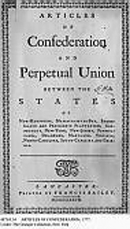 Title Page of Articles of Confederation